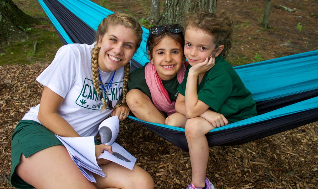 Campers on hammock with staff