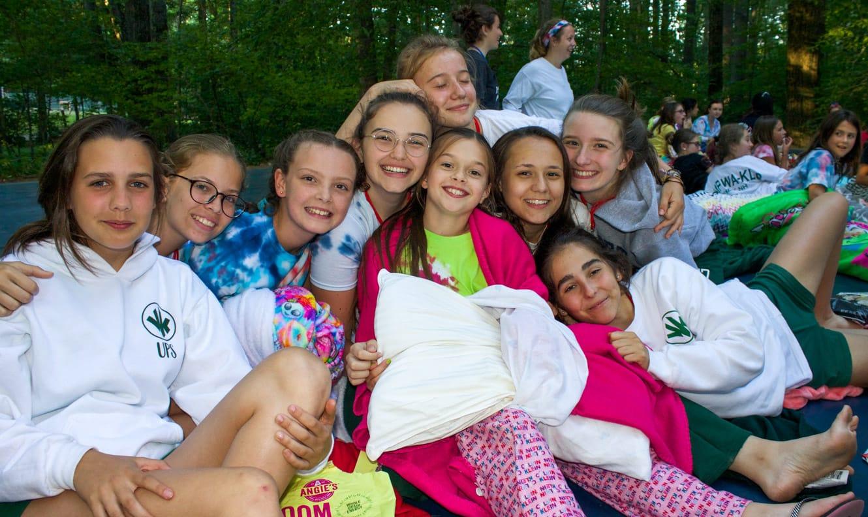 Girls at outdoor movie night