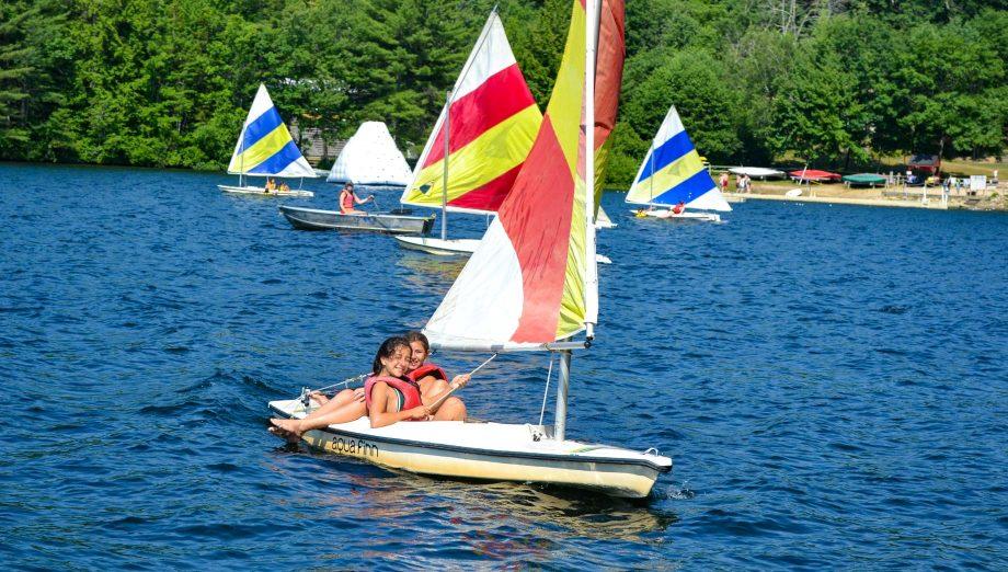 Girls sailing on the lake
