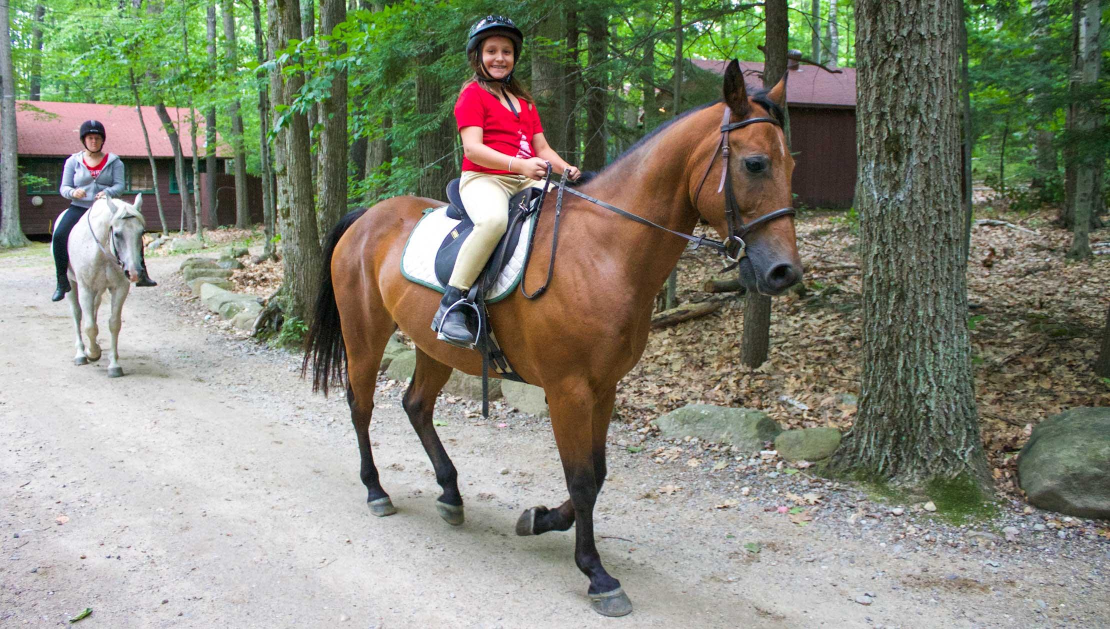 Trail riding through camp